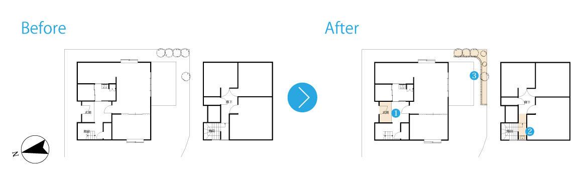ブルーグレーが目に映える玄関。 家族がゆったりと過ごす家